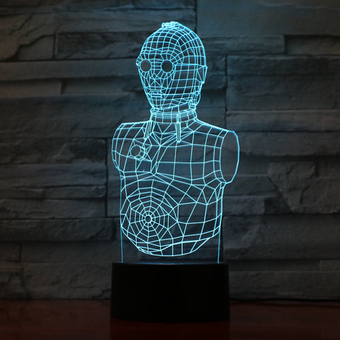 Robot- 3D Optical Illusion LED Lamp Hologram