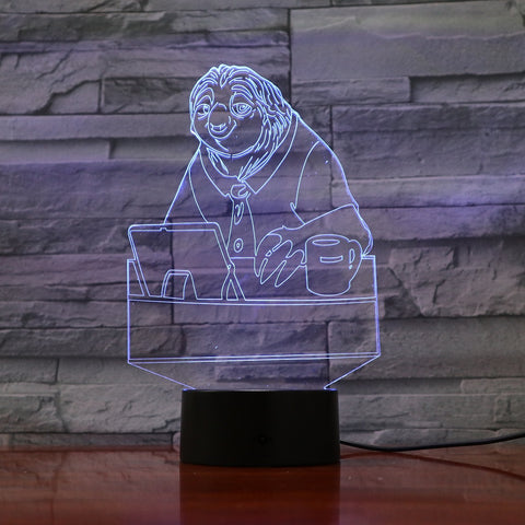 Sloth - 3D Optical Illusion LED Lamp Hologram