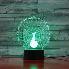 Peacock 1 - 3D Optical Illusion LED Lamp Hologram