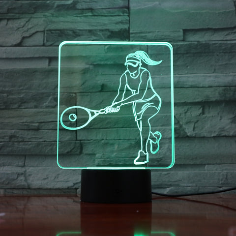 Tennis - 3D Optical Illusion LED Lamp Hologram