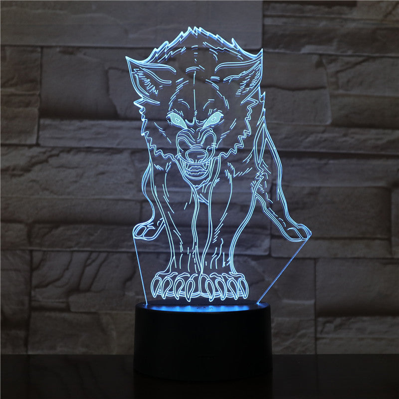 Animal Wolf Decor 3D LED Nightlights Colorful Wolf Design Table Lamp teen wolf Illusion Lights Bedroom Modern Decor 1544