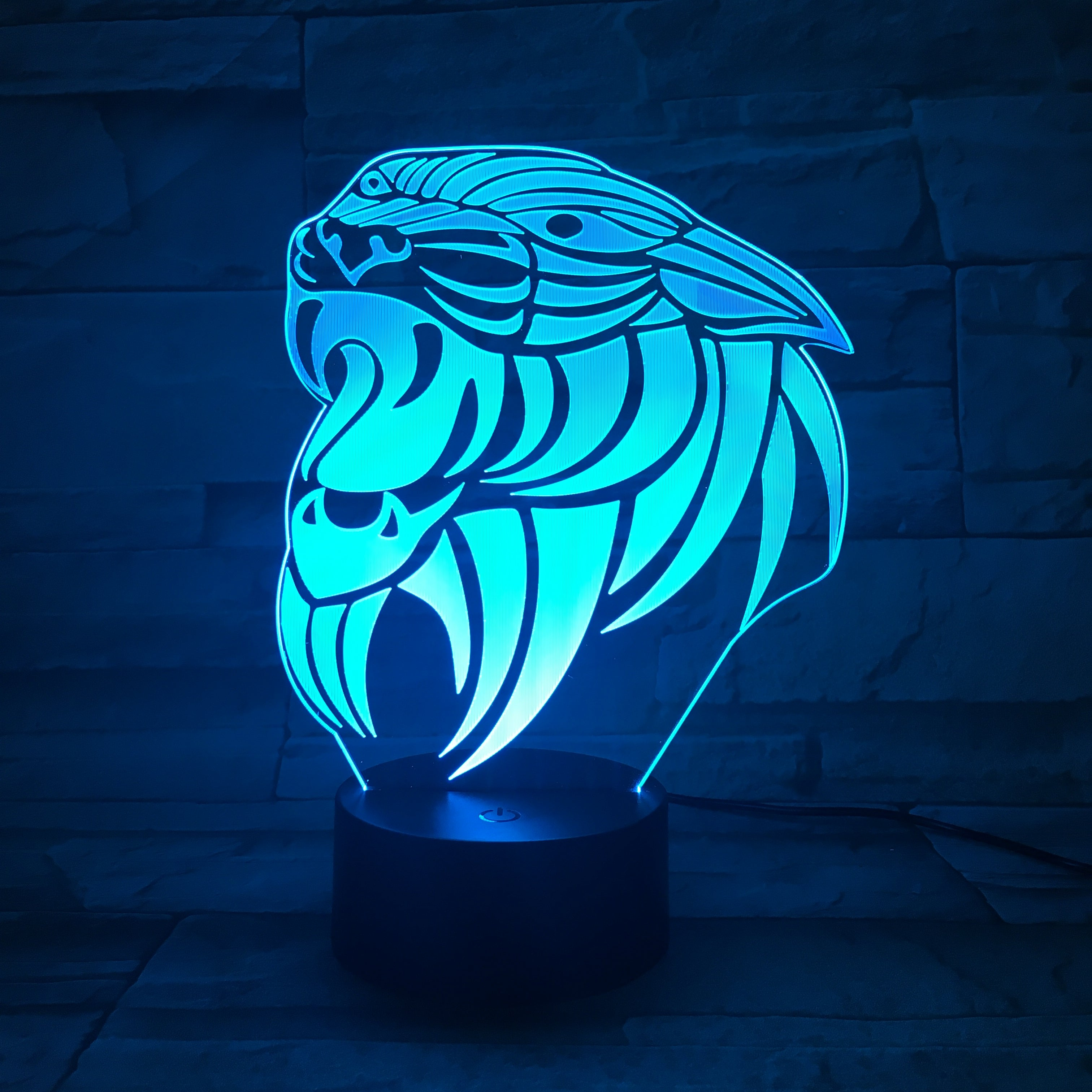 3D Creative Tiger Model Table Lamp Optical Illusion Bulbing Night Light 7Colors Changing Mood Lamp Office Light Drop ship AW-632