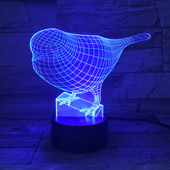 Bird Model 3D LED Night Light Beside LampTouch Control 7 Color Changing USB Touch LED Desk Table Lamp Office Light AW-6 AW-619