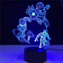 Marvel Heroes 3D Night Lights for Kids 7 Colors LED Illusion Bedroom Table Lamp Spiderman Black Panter Ironman Gifts Dropship