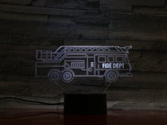 Fire Truck - 3D Optical Illusion LED Lamp Hologram