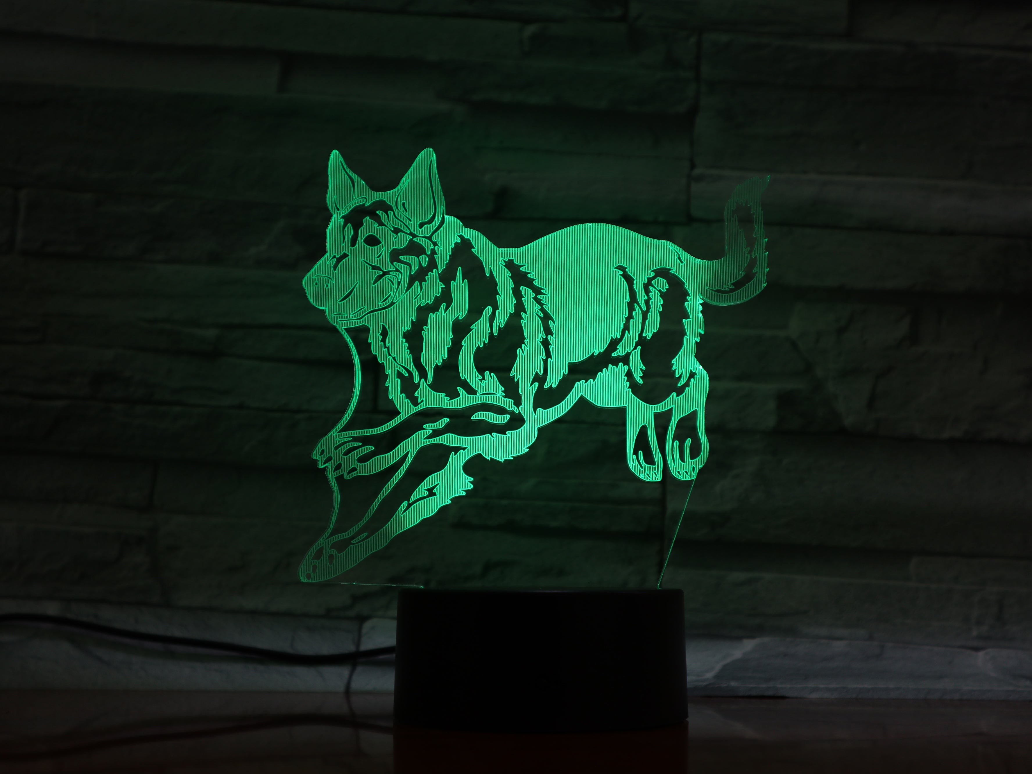 Dog Model 3D Night Light Touch Switch 7 Color Changing LED Table Lamp Office Light USB Night Lights Lamp for Kids AW-1313