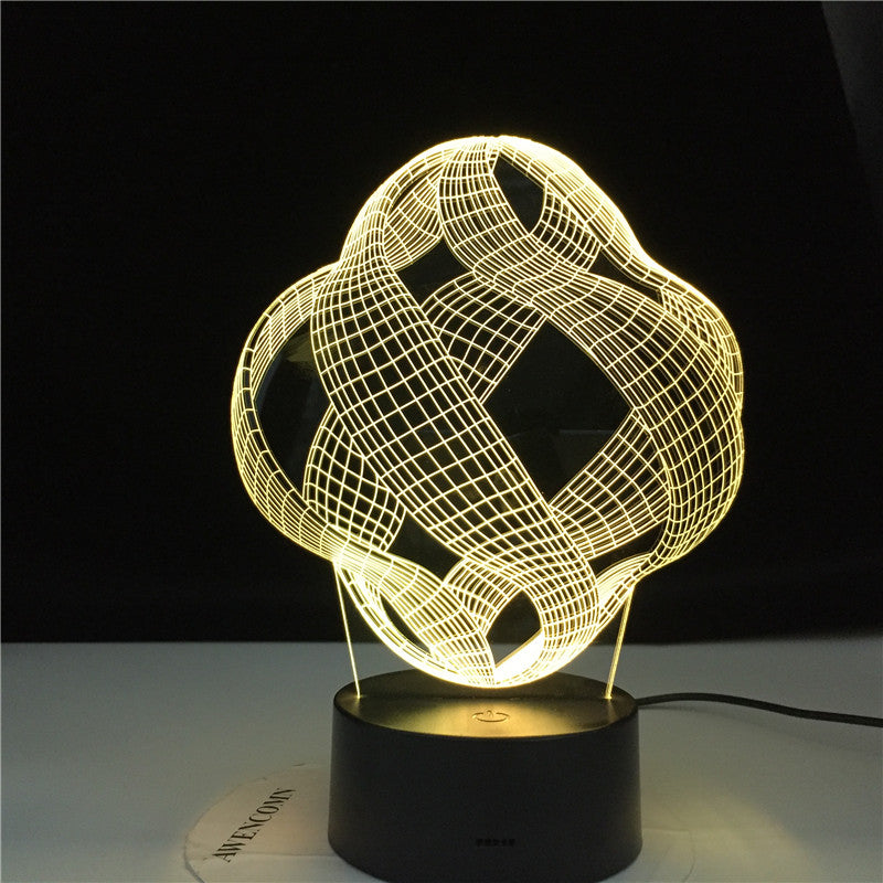 Abstract 3D Lamp LED 7 Colors Vision Decoration Touch Table Lamp USB Black Base Night Light Magical Holiday Dropshipping Gift