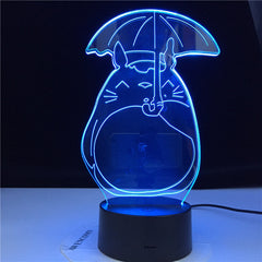 Totoro My Neighbor 3D Night light for Baby Bedroom Light Child Gift Led Night Lamp Totoro Umbrella Pretty Kids Led Nightlight