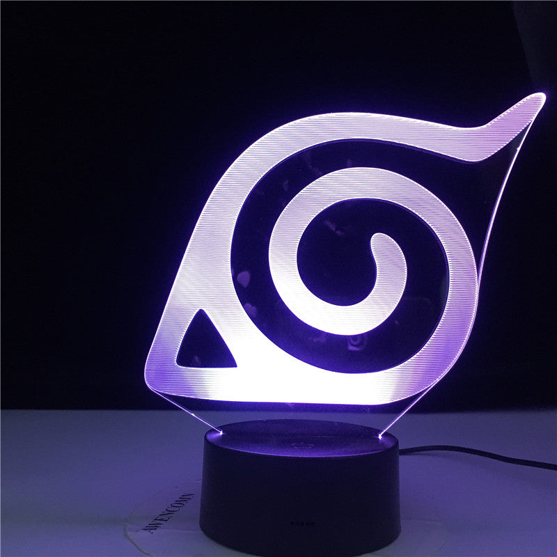 Konoha Naruto Logo Colorful Nightlight for Child Bedroom Decorative Light Cool Led Table Lamp Anime LED Night Light Gift for Him