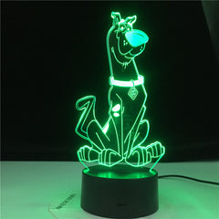 Scooby Doo Cute Cartoon Dog Figure Baby Nightlight Colorful Touch Sensor Kids Bedroom Bedside Table 3d Lamp LED Night Light