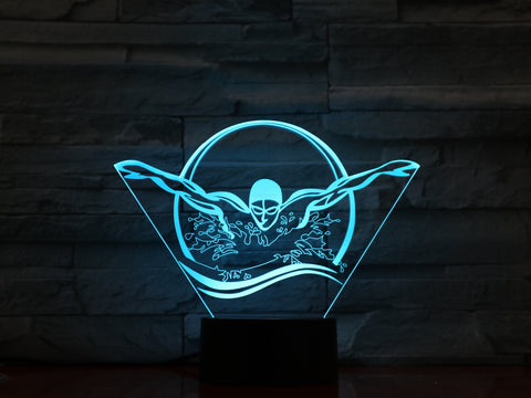 Swimmer - 3D Optical Illusion LED Lamp Hologram