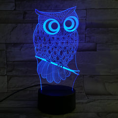 Cartoon 3D Night Light Animal Owl 7 Colors Change LED Table Lamp Art Home Child Bedroom Sleeping Decor Christmas Party Gifts 601