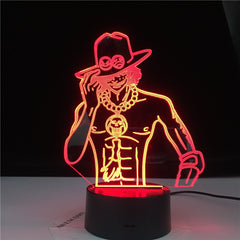Portgas D Ace Figure Led Color Changing Nightlight for Kids Room Decor Light Cool Anime Gift Led Night Light 3d Illusion Lamp