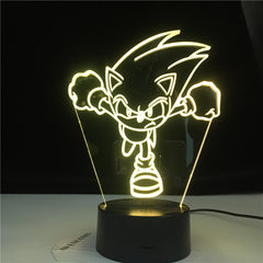 Running Sonic Figure Led Night Light for Kids Bedroom Decoration Nightlight Colors Changing Usb Desk Lamp The Hedgehog Gift