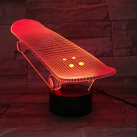 Skateboard  - 3D Optical Illusion LED Lamp Hologram