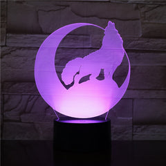 3D Wolf Howl In The Moon NightLight LED Animal Table Lamp 7 Colors USB Bedroom Bedside Sleep Light Home Decor Kids Gifts 2012