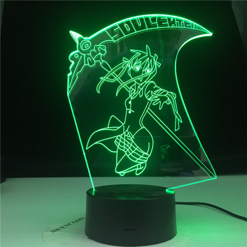 Eater Maka Albarn Anime Soul Figure Kids Led Night Light for Home Decoration Girls Room Bedside Desk 3d Lamp Gift Color Changing