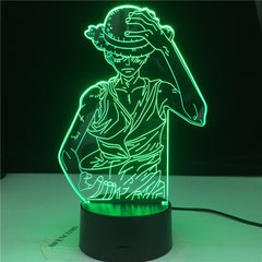 Anime One Piece Luffy Figure 3D Lamp Table Lamp USB Color Changing luminaria Child Sleeping LED Night light Boy Birthday Gift