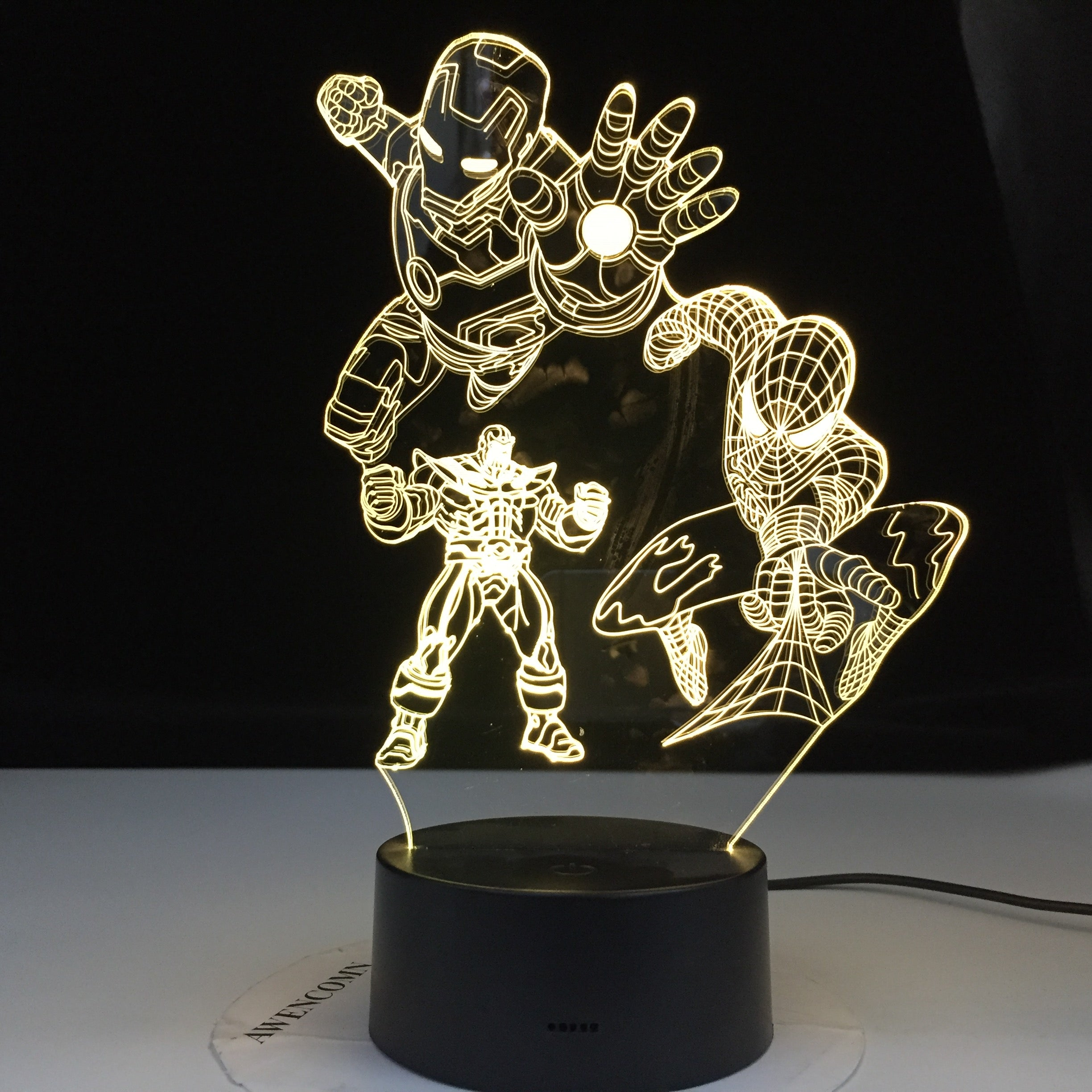 Iron Man Spiderman Thanos Marvel Team Figure Child Night Light Led Touch Sensor Colors Changing Nightlight for Home Decor Gift