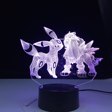 Umbreon and Entei Figure Kids Night Light Led Touch Sensor Colorful Bedroom Light Cool Table 3d Lamp Pokemon Safe Light Gift