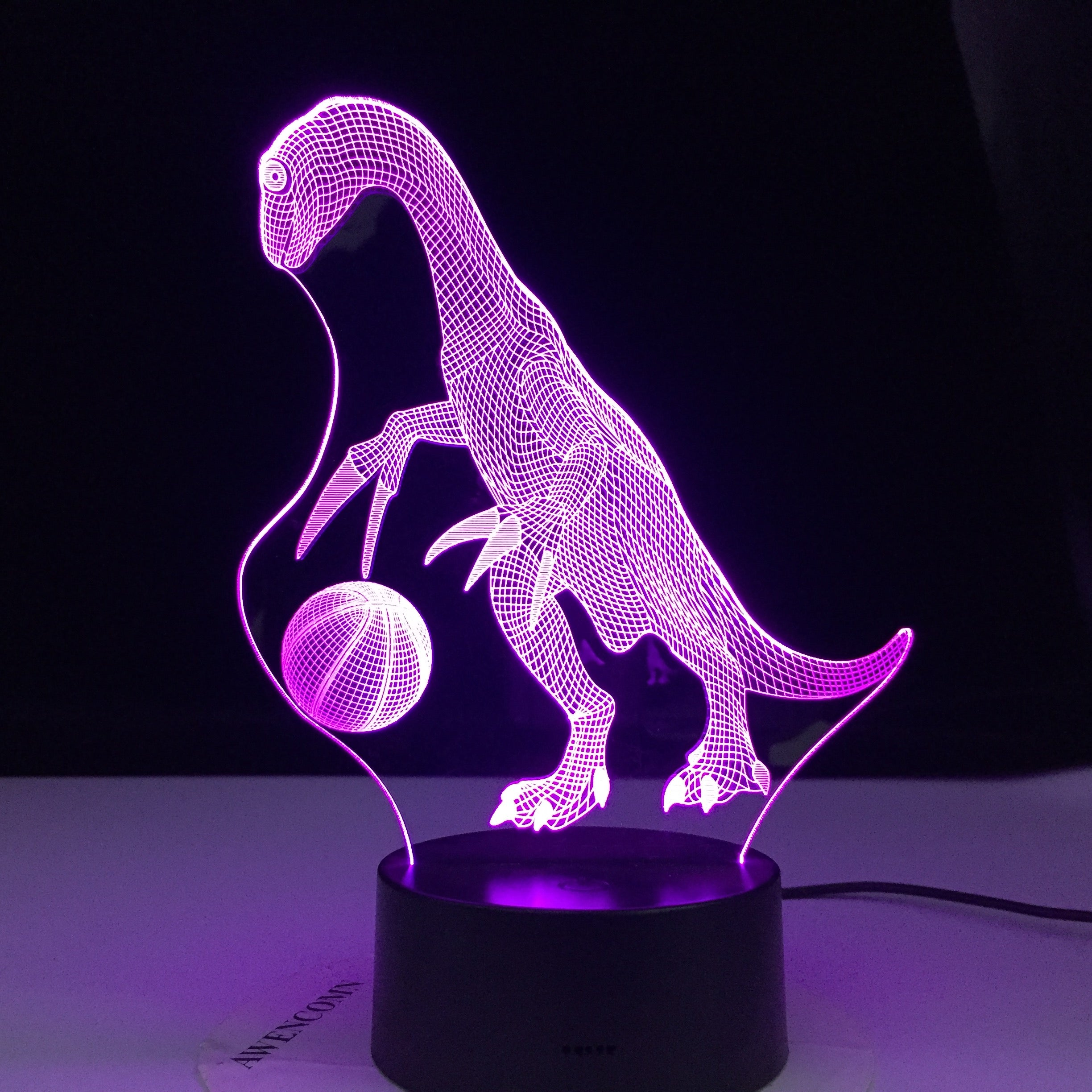 Dinosaur Playying Football 3D Illusion Led Lamp Colors Decoration Night Light Touch Sleeping Nightlight Table Lamp Boys Gifts