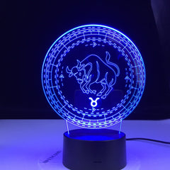 Taurus Twelve Constellation Lamp Kids Night Light Led Colorful Touch Sensor Nightlight for Home Decoration Light Birthday Gift