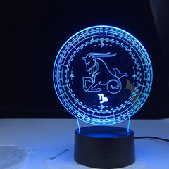 Capricorn Twelve Constellation 3d Lamp Kids Night Light Led Colorful Sensor Nightlight for Home Decoration Light Birthday Gift