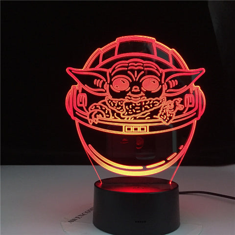 3D LED Mutilcolors Change Baby Yoda In His Career Decorative Light Usb Battery Powered Children Night Lamp 3d Lamp Gift Dropship
