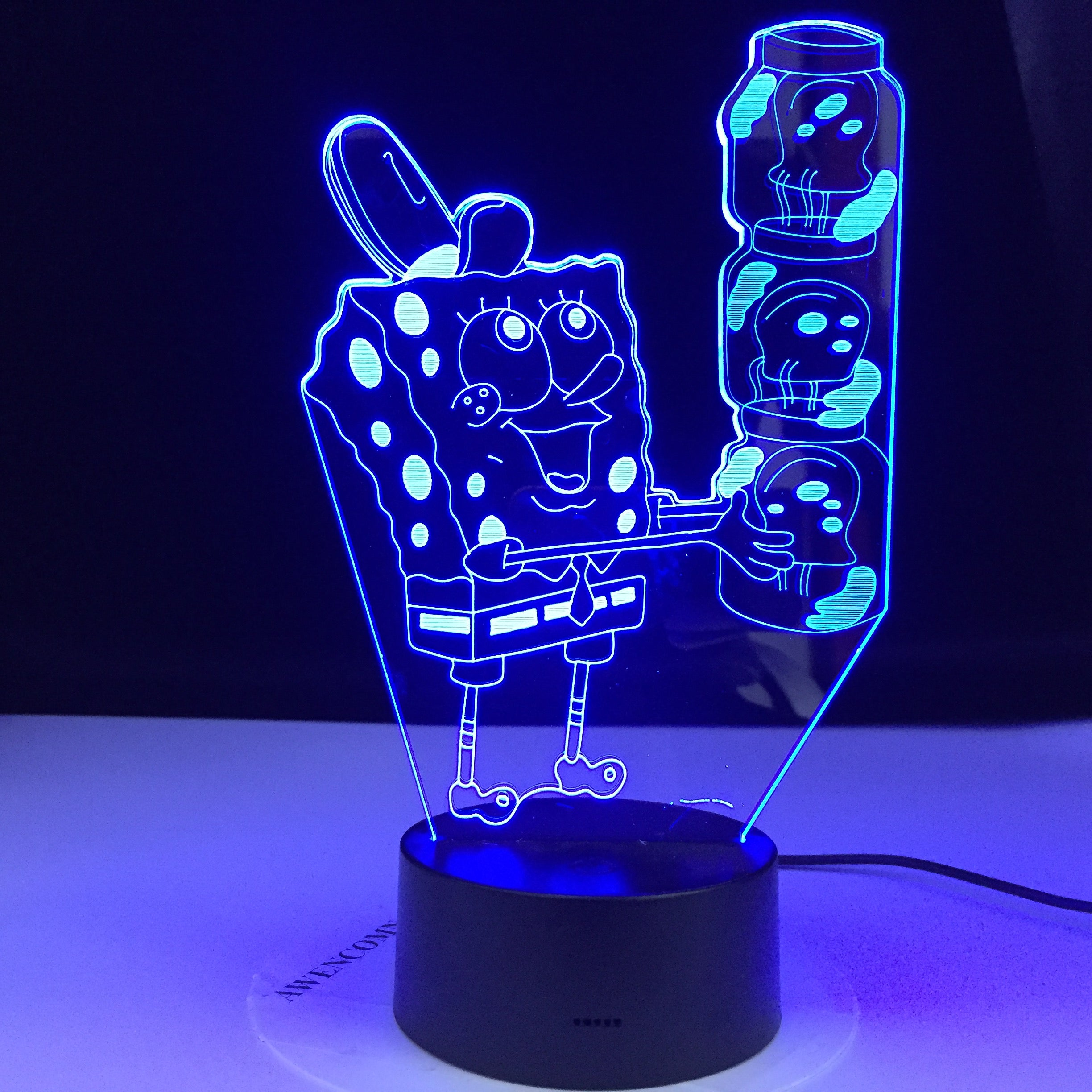 SpongeBob SquarePants Night light for Kid Bedroom Battery Powered Cartoon 3d Night Lamp for Children Cool Baby Led Nightlight