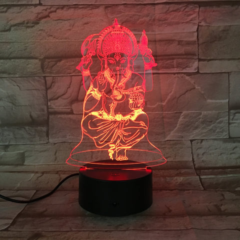 3D LED India Lord Elephant Night Light Visual 7 Colors Ganesha Table Desk Lamp Birthday New Year Kids Sleep Lighting Gifts 653