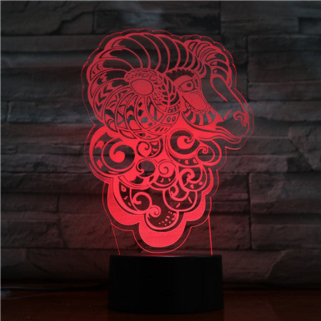 Goat Sheep Abstract Art 3D Lamp 7 Color Night Lamp For Kid Touch Led Usb Table Lampara Lampe Baby Sleeping Decor Nightlight 1515