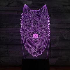 Dog Head Night Light LED 3D Illusion 7 Color Changing Room Decorative Lamp Child Kid Baby Kit Desk Lamp Bedside Caniche Dog 1426