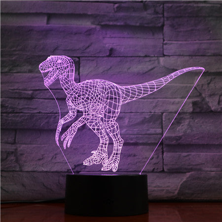 Velociraptor Dinosaur 3D Lamp Blue 7 Color Led Night Lamps for Kids Touch Led USB Table Office Light Room De AW-1430