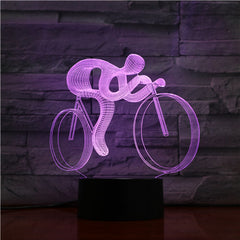 Сyclist - 3D Optical Illusion LED Lamp Hologram