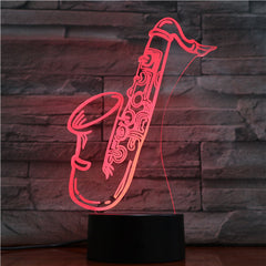 Saxophone - 3D Optical Illusion LED Lamp Hologram