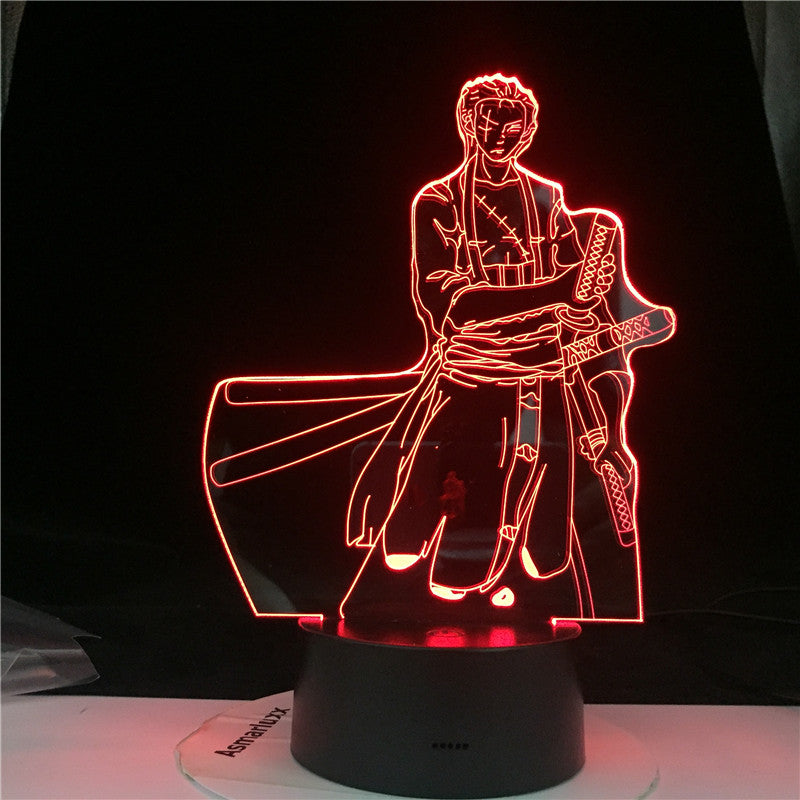 3D Roronoa Zoro Night Lamp Hot Anime light One Piece 7 Colors Charge Home Child Sleep Table Lava Birthday Lamp Dropshipping