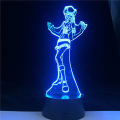 Nico Robin Anime ONE PIECE 7 Colors Change 3d Led Night Light Children Birthday Gift Toy Party Atmosphere Remote Base Table Lam