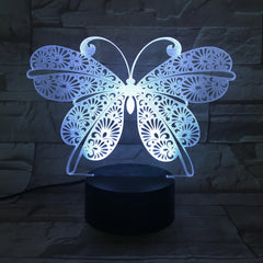 Butterfly 3D Visual Illusion Lamp Transparent Acrylic Night Light LED Lamp Color Changing Touch Table Bedroom Decoration AW-746