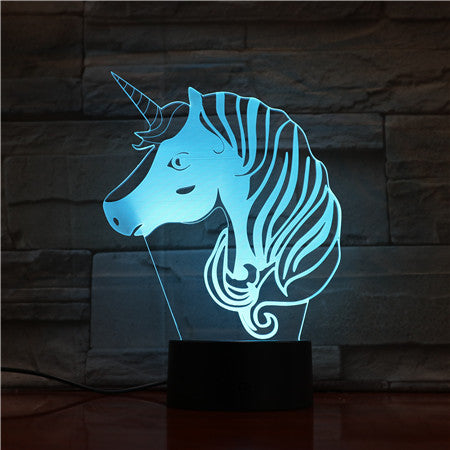Unicorn Head 3D Hologram Illusion Unique Lamp Acrylic Night Light With Touch Switch Luminaria Lamp 7Colors Change Deco Gift1697