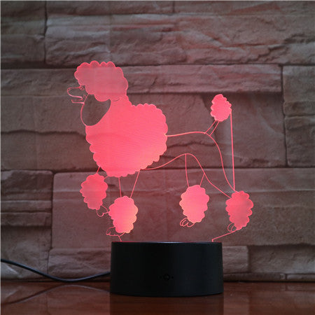 Poodle Dog 3d Lamp 7 Colors Led Night Lamps For Kids Touch Led Usb Table Lampara Lampe Baby Sleeping Nightlight 1739