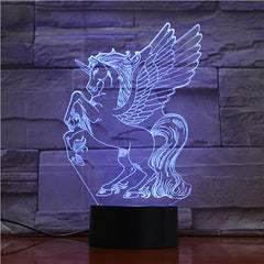 New Animal Horse 3d Nightlight 7 Colorful Touch Remote Usb Gifts 3D Light Fixtures Usb Led Luminaria Bedroom Table Lamp 1728