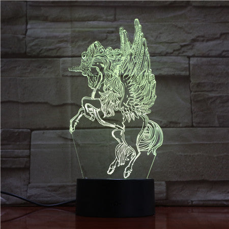 Horse 3D Night Lamp Creative Novelty Electronic Gift Lamp Lovely cartoon children's toys Led Night Light Novelty USB Lamp 1727