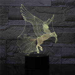 Flying Horse 3D Night Lamp Creative Novelty Electronic Gift Lamp Lovely cartoon Kid's toys Night Light Novelty Usb Lamp 3199