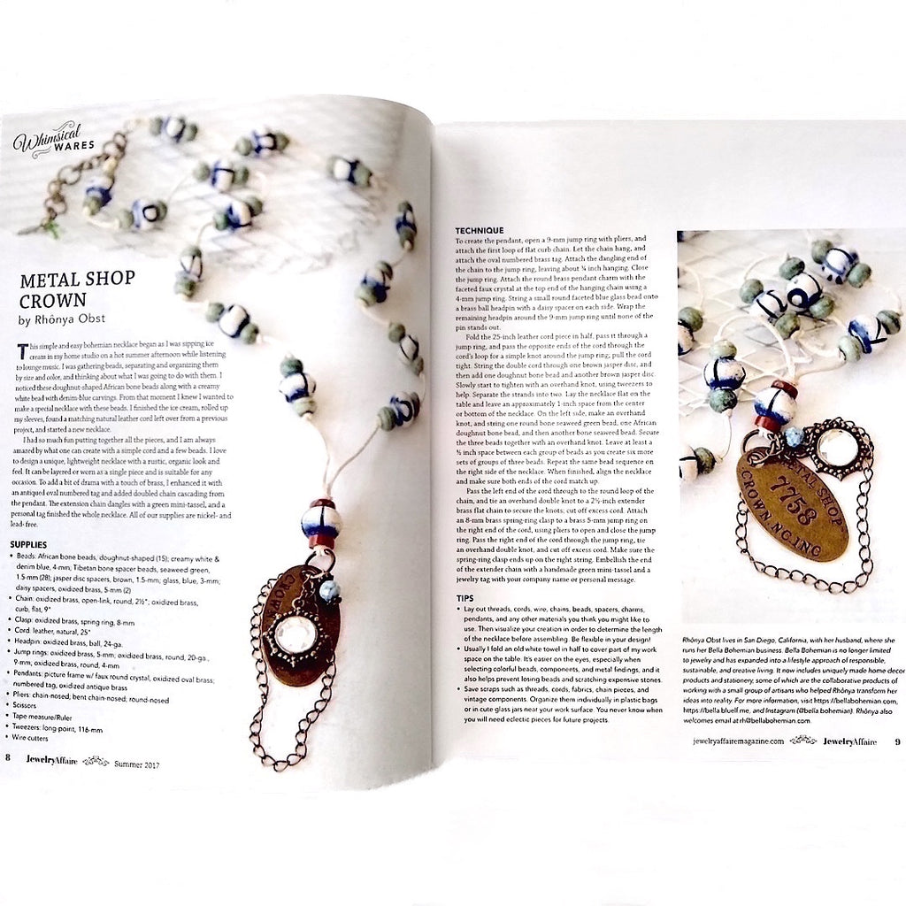 Jewelry Affaire Magazine, Rhônya Obst featured on pp8-9 (Volume 8, Issue 2)