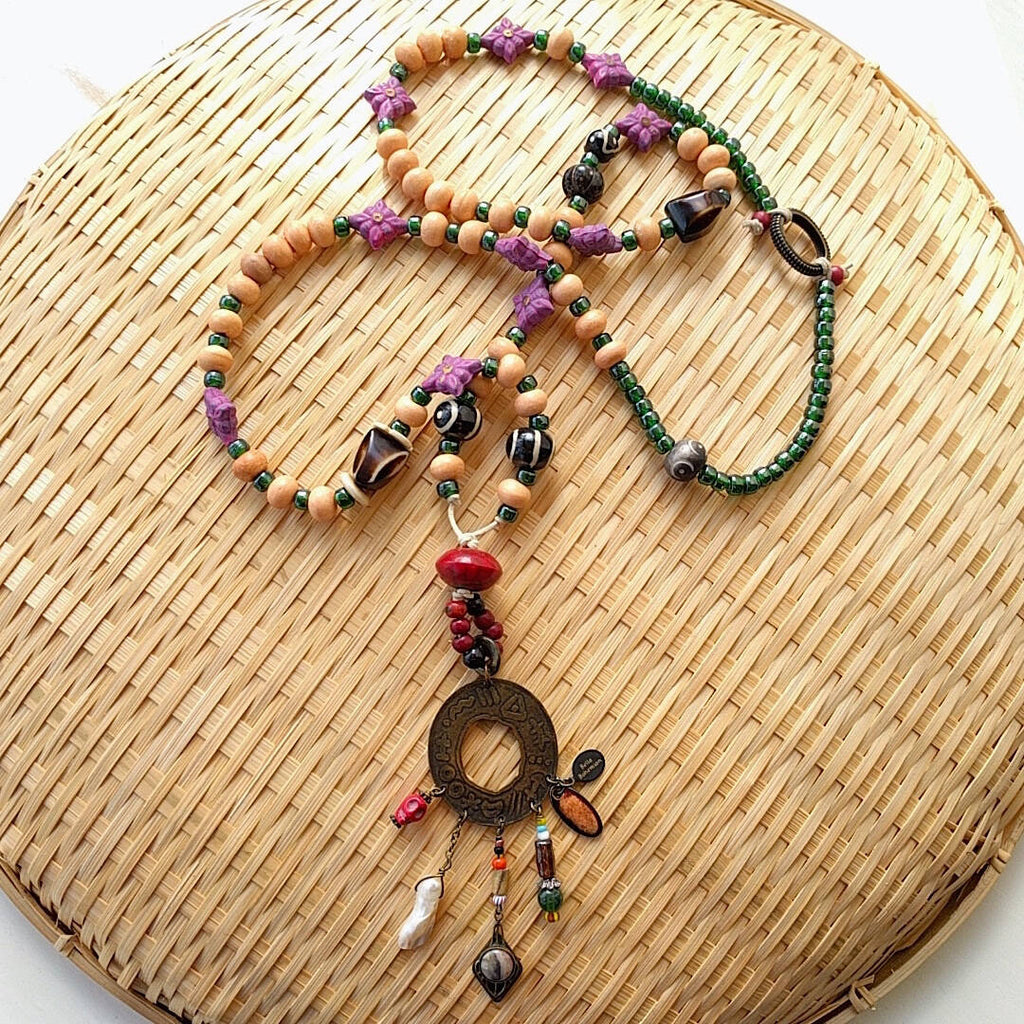 long statement necklace with tibetan and african trade beads