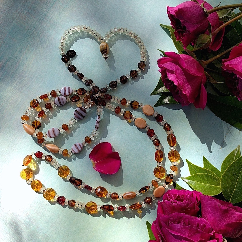 long bohemian multicolored amber glass and seed bead necklace