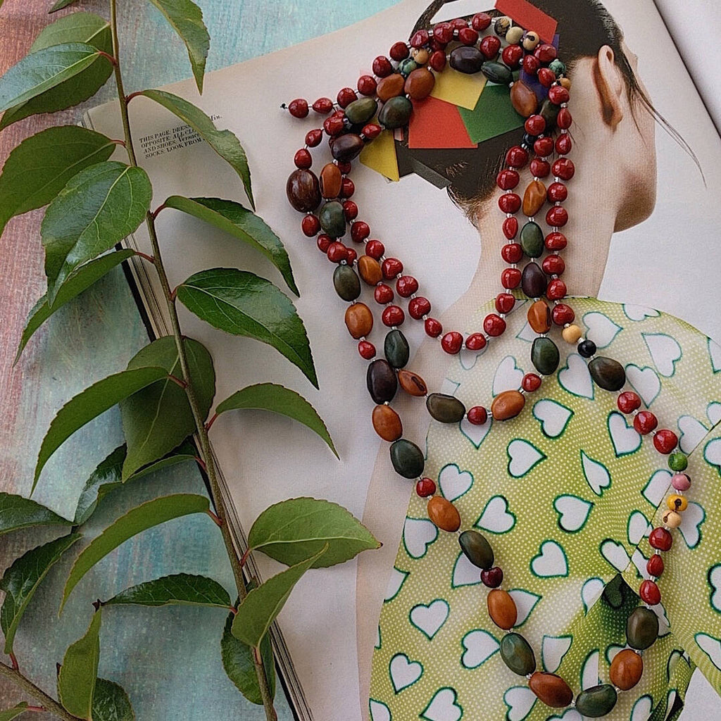 Bohemian style necklace with combination of natural seed beads