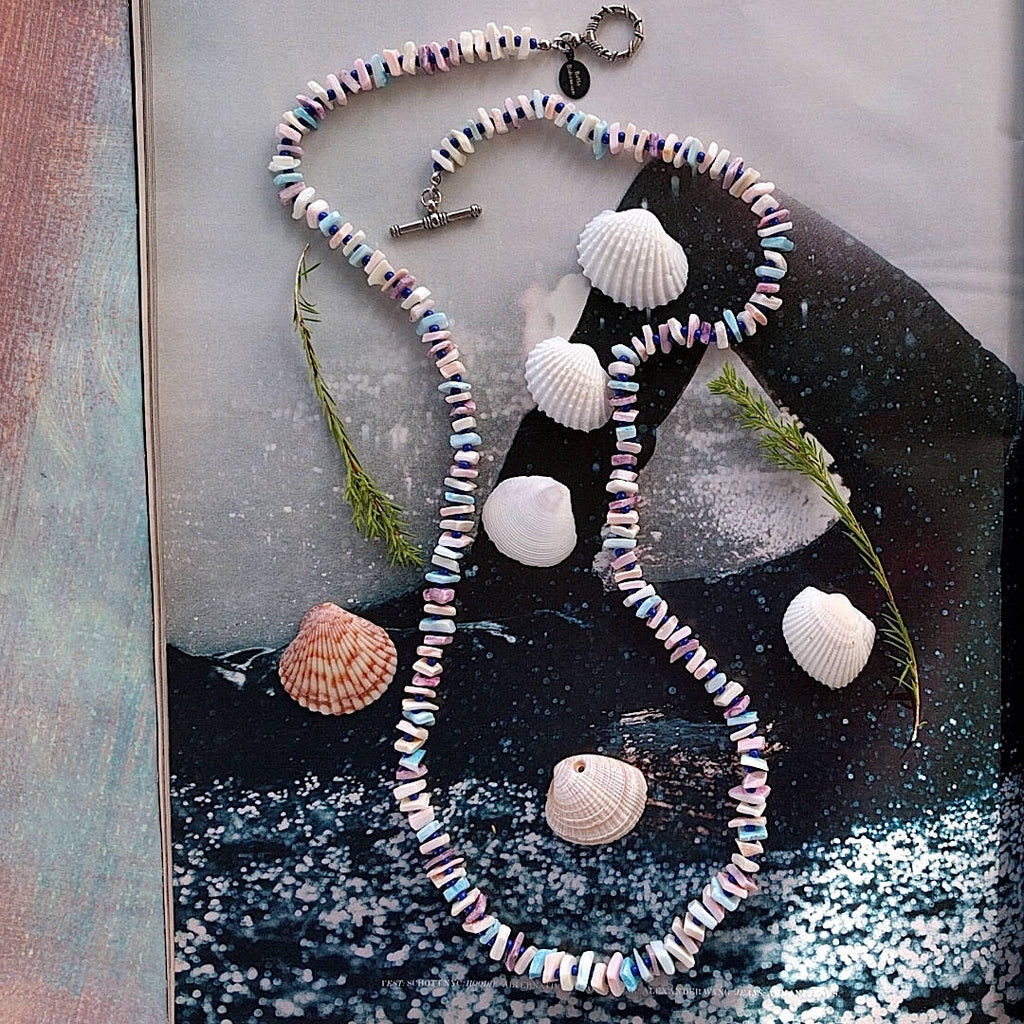chic beach necklace, handmade using hand dyed pastel chip sea shells and spacers with round navy blue seed beads