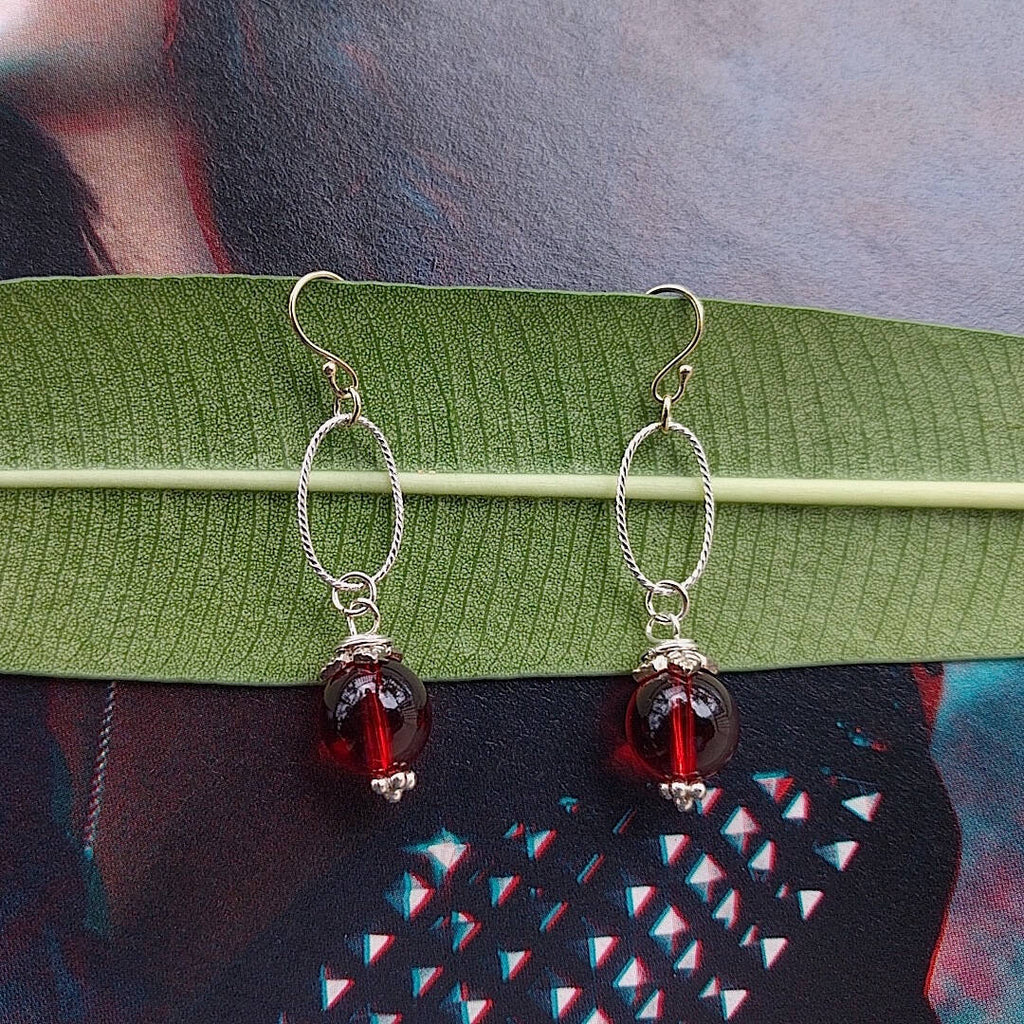 cherry round glass earrings set by itself
