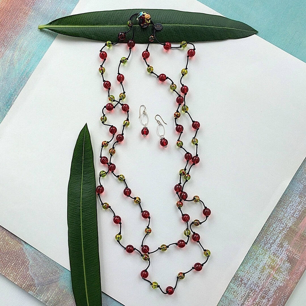 long double strand bohemian necklace featuring cherry round glass with earrings set
